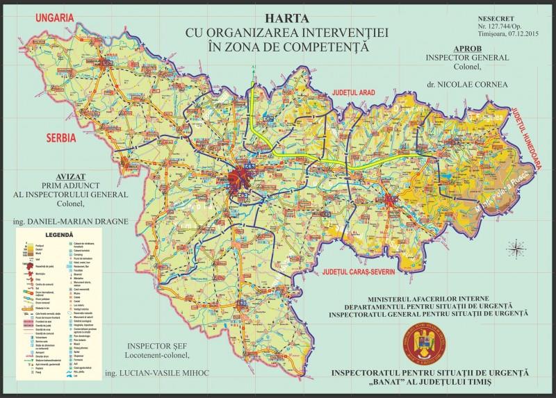 Harta cu organizarea intervenției în zona de competență